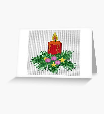 Christmas Candle Cross Stitch Greeting Card