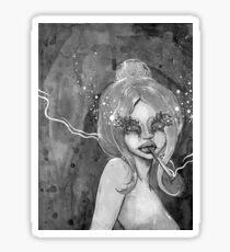 Black and white smoking girl 2 Sticker