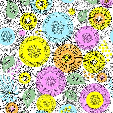Flowers of Astres and Chrysanthemums drawn zigzag lines by Nata-V