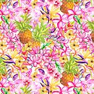 Tropical flowers and pineapple watercolor by artsandsoul