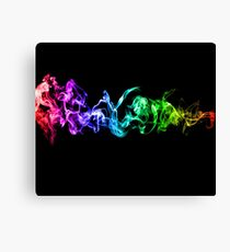 Colorful Abstract Smoke - A Rainbow in the Dark Canvas Print
