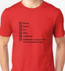 Man's Check List For A Happy Life  Unisex T-Shirt