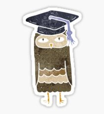 retro cartoon wise owl Sticker