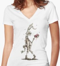 Bugs Zombunny (Sepia) Women's Fitted V-Neck T-Shirt