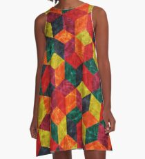 Colorful Isometric Cubes A-Line Dress