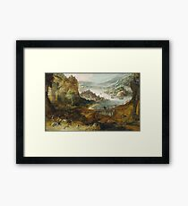 Joos De Momper (Ii) - River Landscape With Boar Hunt, 1635 Framed Print