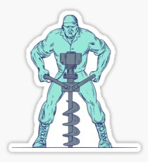 Construction Worker Earth Auger Boring Hole Drawing Sticker