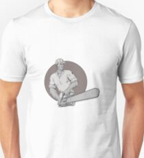 Lumberjack Arborist Holding Chainsaw Oval Drawing Unisex T-Shirt