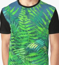 Fern, floral art, blue & green Graphic T-Shirt