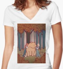 Snow White and Rose Red Women's Fitted V-Neck T-Shirt