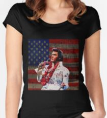 Elvis in Aloha white suit  Women's Fitted Scoop T-Shirt