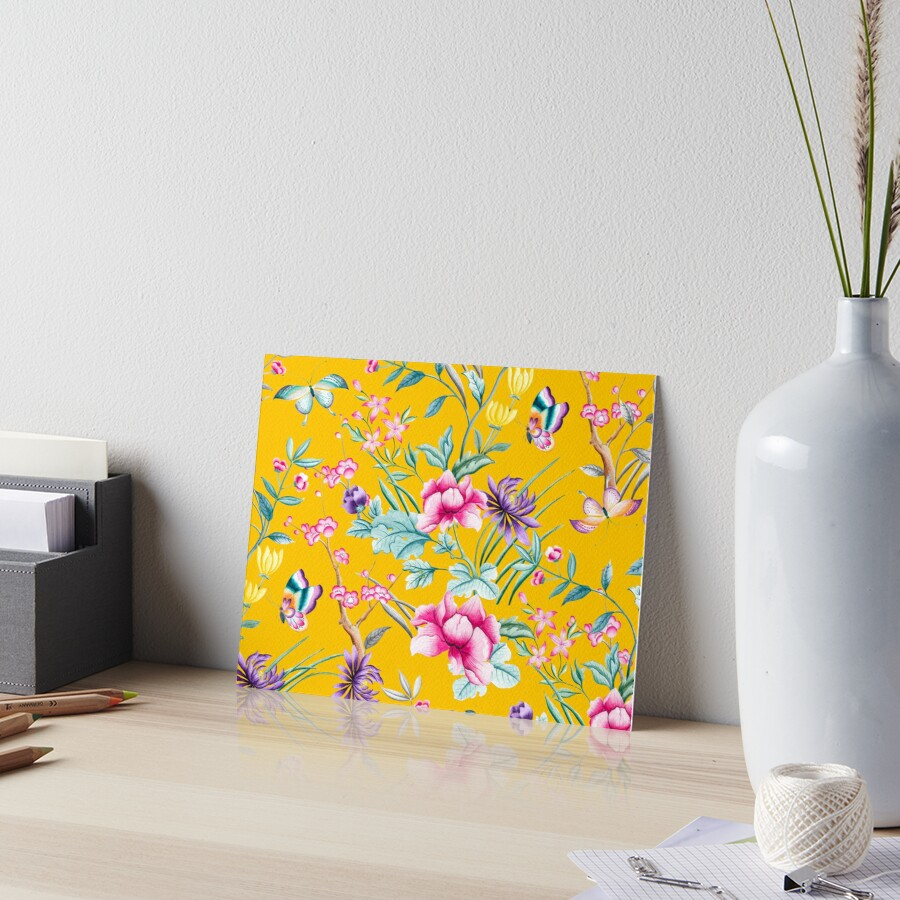 Chinoiserie mustard yellow floral\
