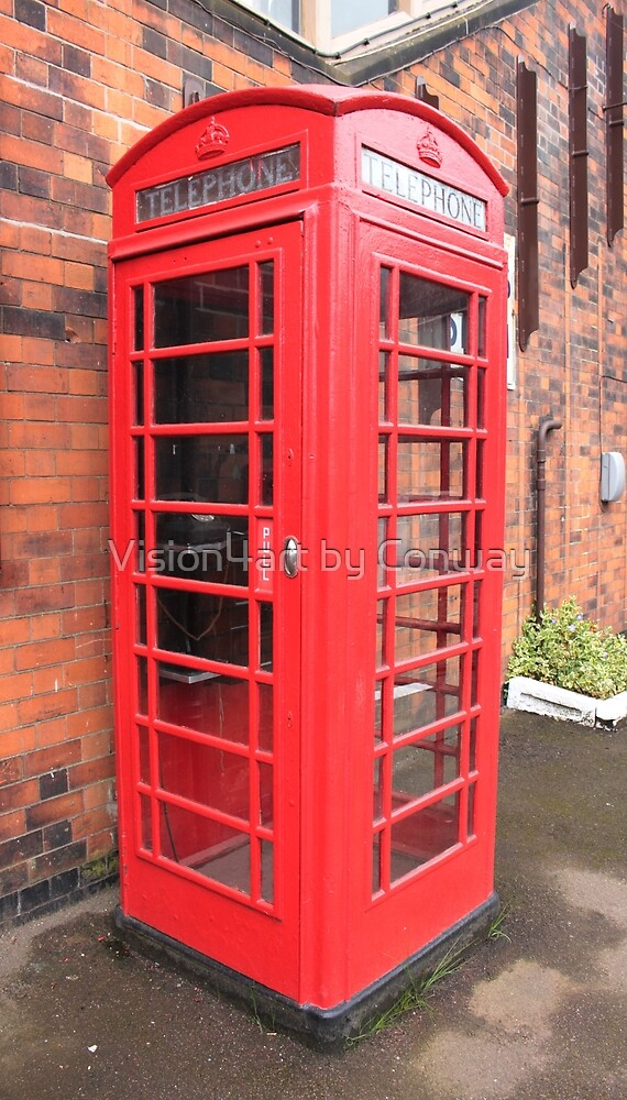 Vintage red phone call box London England British by Tom Conway