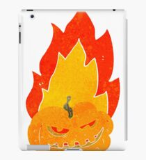 retro cartoon flaming halloween pumpkin iPad Case/Skin
