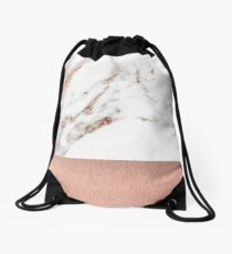 Rose gold marble and foil Drawstring Bag
