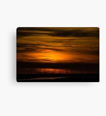 Sunset over the wind farm. Canvas Print