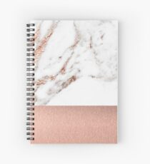 Rose gold marble and foil Spiral Notebook