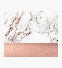 Rose gold marble and foil Photographic Print