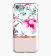 Chinoiserie pearl white floral & rose gold iPhone Case/Skin