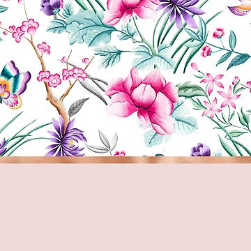 Chinoiserie pearl white floral & rose gold by peggieprints