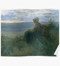 Jozef Israels - A Fishergirl On A Dune Top Overlooking The Sea Poster