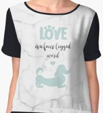 Mint & Marble 'Love is a Four Legged Word' Long Hair Dachshund Chiffon Top