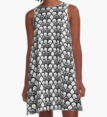 Black and White Shells Pattern A-Line Dress