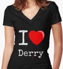 """IT - Balloon heart  - """"I love Derry"""" Women's Fitted V-Neck T-Shirt"""