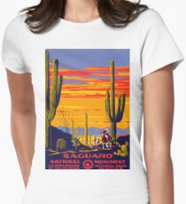 Saguaro National Park Vintage Travel Poster Womens Fitted T-Shirt