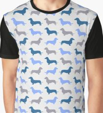 Cool Blue - Dachshund Pattern Graphic T-Shirt