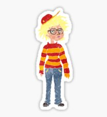 retro cartoon geeky girl Sticker