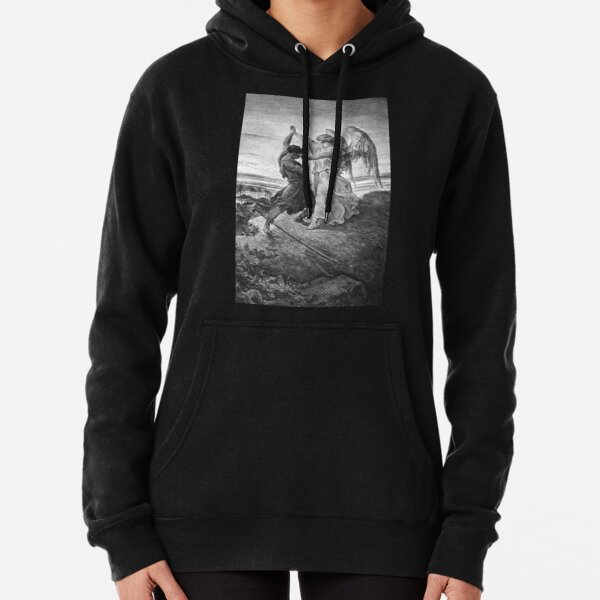 ANGELS AND DEMONS. Gustave Dore, Bible, Biblical, Jacob, wrestling with the angel, 1855. Pullover Hoodie