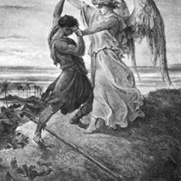 Gustave Dore, Bible, Biblical, Jacob, wrestling with the angel, 1855 by TOMSREDBUBBLE