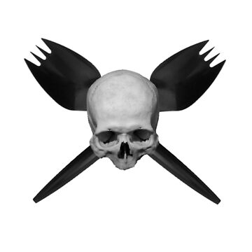 Skull and Crossed Sporks - BLACK by papaheck