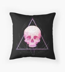 Skull in triangle on black Throw Pillow