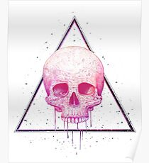 Skull in triangle on black Poster