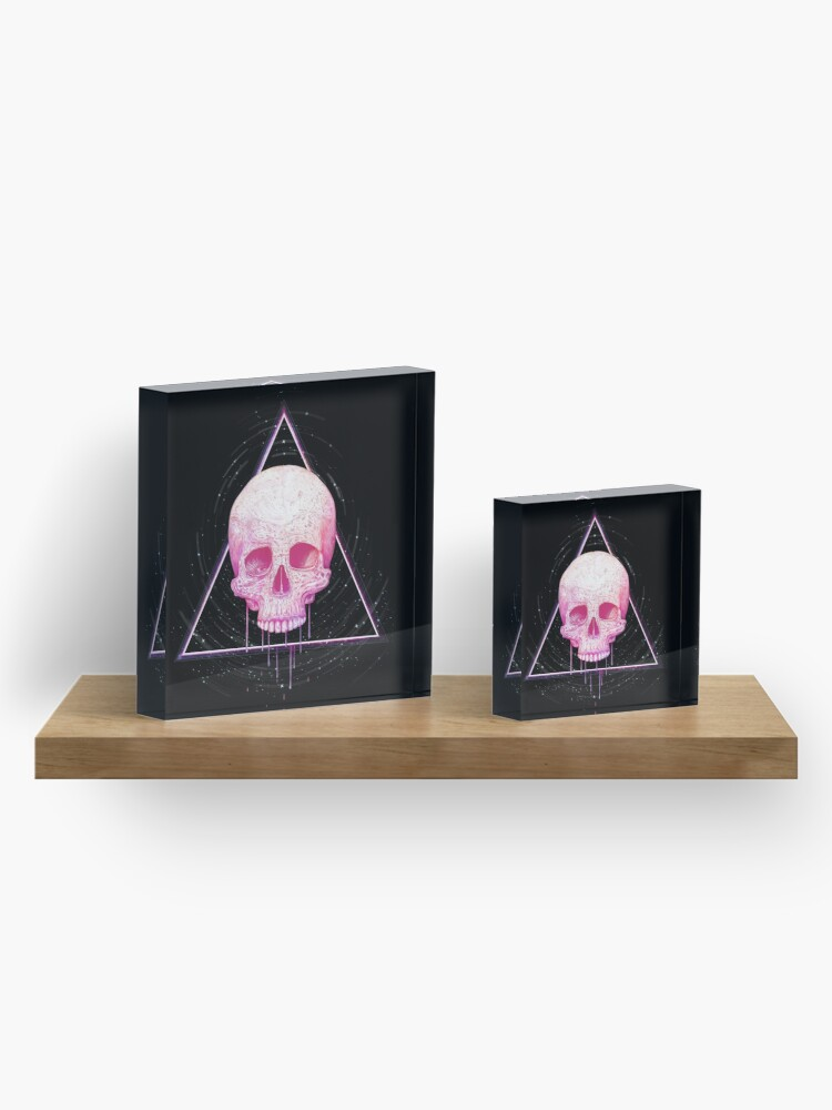 Alternate view of Skull in triangle on black Acrylic Block