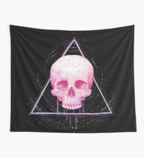 Skull in triangle on black Wall Tapestry