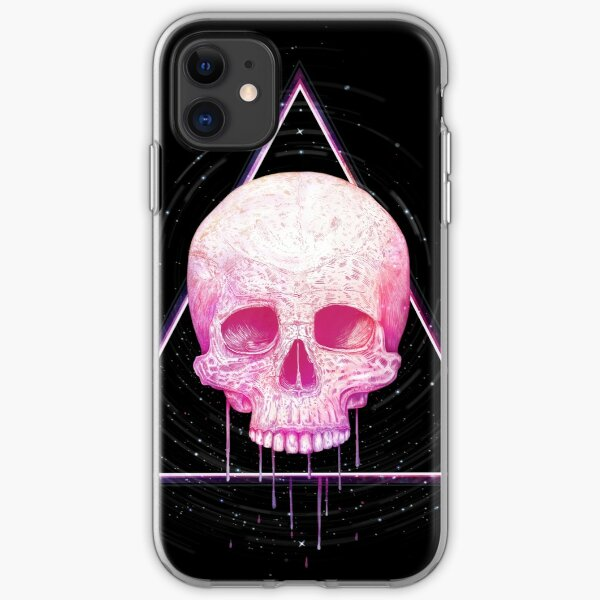 Skull in triangle on black iPhone Soft Case