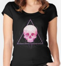 Skull in triangle on black Women's Fitted Scoop T-Shirt