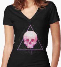 Skull in triangle on black Women's Fitted V-Neck T-Shirt