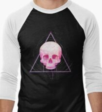 Skull in triangle on black Men's Baseball ¾ T-Shirt