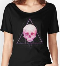 Skull in triangle on black Women's Relaxed Fit T-Shirt