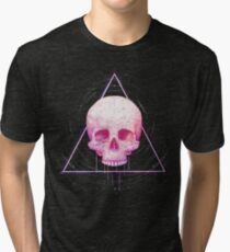 Skull in triangle on black Tri-blend T-Shirt