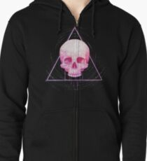Skull in triangle on black Zipped Hoodie