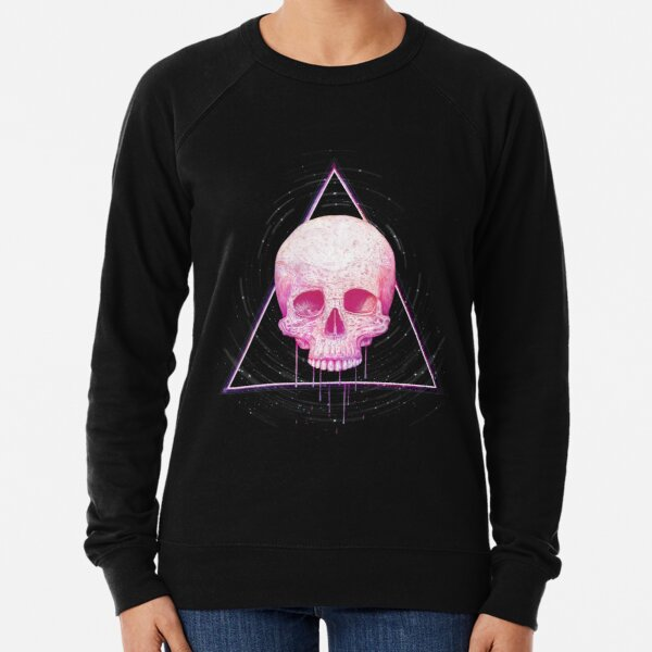 Skull in triangle on black Lightweight Sweatshirt