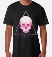 Skull in triangle on black Long T-Shirt