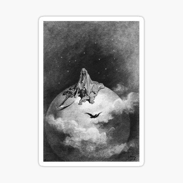 Gustave Dore. 1883, Illustration, Edgar Allan Poe, THE RAVEN. Sticker