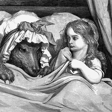 """Fairy Tale, Little Red Riding Hood, Gustave Dore, 'She was astonished to see how her grandmother looked"""" by TOMSREDBUBBLE"""