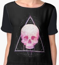 Skull in triangle on black Women's Chiffon Top